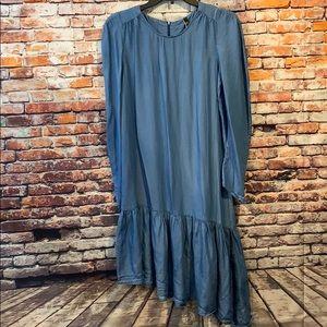 Blue denim long sleeve Zara trf collection dress